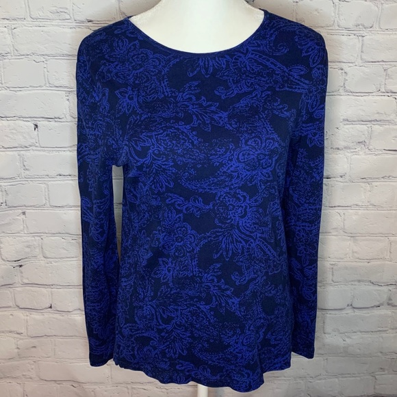 RALPH LAUREN Blue paisley long sleeve top